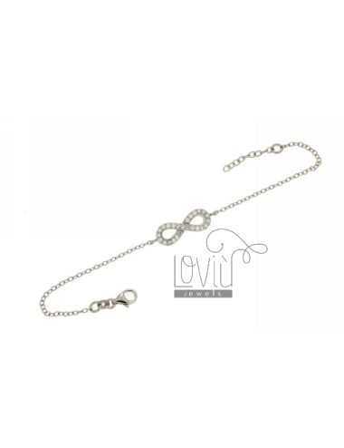 CABLE BRACELET WITH CENTRAL INFINITY SYMBOL WITH ZIRCONIA IN RHODIUM AG TIT 925 SIZE ADJUSTABLE FROM 18 TO 20 CM