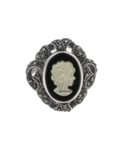 CAMEO RING OF ONYX AND MOTHER OF PEARL AND MARCASITE AG TIT IN SIZE 16 925 ‰