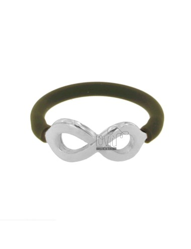RING IN SILICON COLOR OLIVE GREEN WITH INFINITY SYMBOL IN TIT AG 925