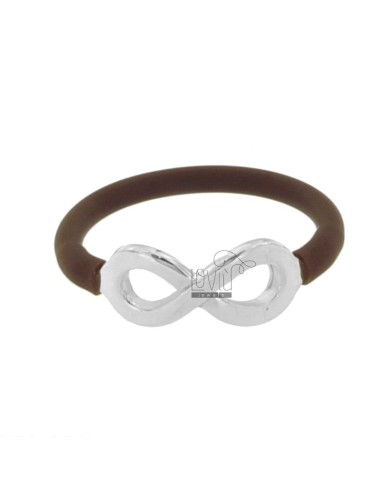 RING SILICONE BROWN WITH INFINITY SYMBOL IN TIT AG 925