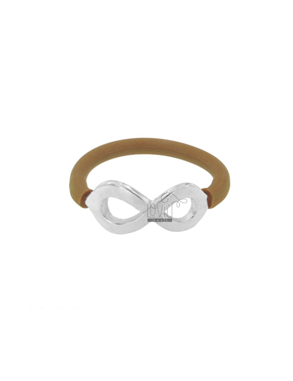 RING IN SILICON BRONZE BROWN WITH INFINITY SYMBOL IN TIT AG 925