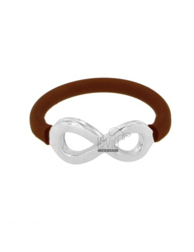 RING SILICONE BROWN COPPER WITH INFINITY SYMBOL IN TIT AG 925