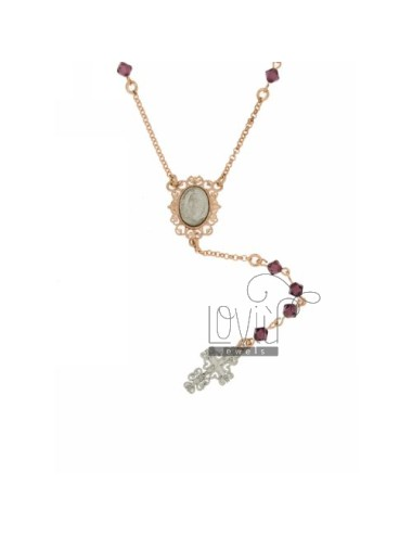 CORONA CRYSTAL NECKLACE WITH PURPLE PYRAMID 4 MM WITH MADONNA AND PERFORATED CROSS IN SILVER ROSE GOLD AND RHODIUM PLATED 50 TO