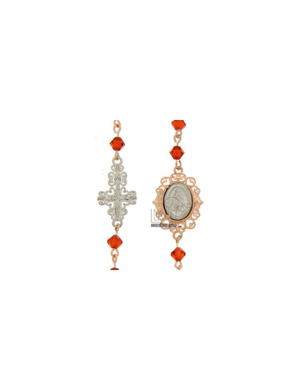 CORONA CRYSTAL BRACELET ORANGE PYRAMID 4 MM WITH MADONNA AND PERFORATED CROSS IN SILVER ROSE GOLD AND RHODIUM PLATED FROM 18 TO