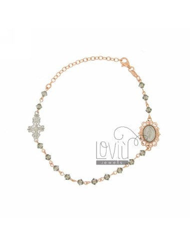 CROWN BRACELET WITH CRYSTAL PYRAMID 4 MM GREY WITH MADONNA AND PERFORATED CROSS IN SILVER RHODIUM PLATED ROSE GOLD AND FROM 18 T