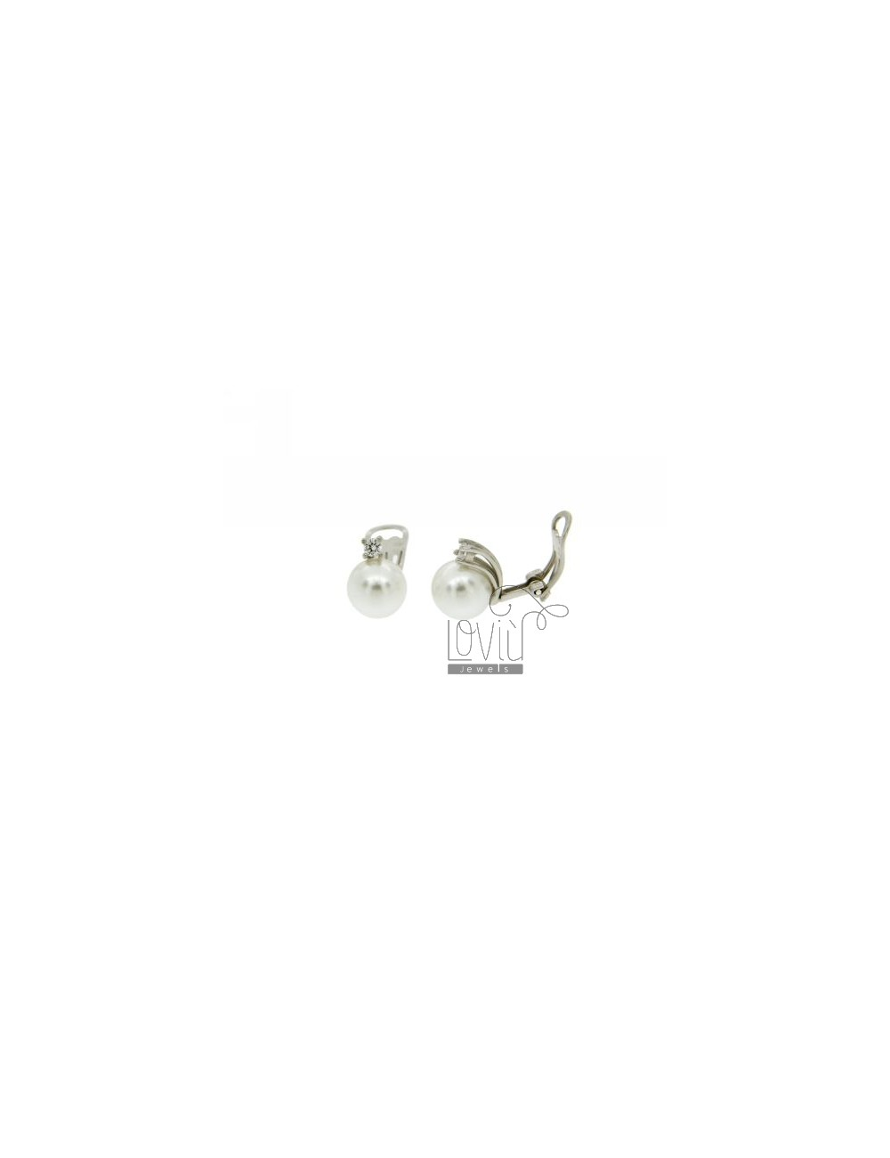 10 MM PEARL EARRINGS CLIPS AND ZIRCON IN RHODIUM TIT AG.925