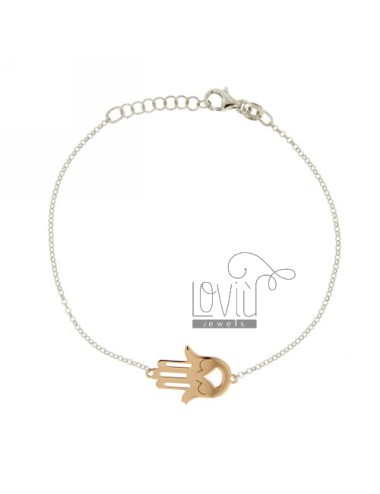 ROLO BRACELET &39WITH CENTRAL HAND OF FATIMA IN AG PLATED RHODIUM AND ROSE GOLD TIT 925 ‰ CM 20