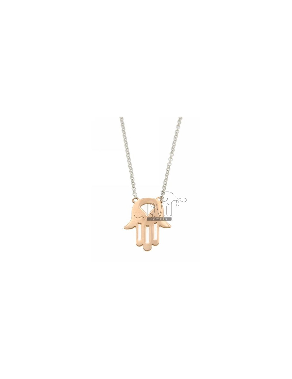 ROLO NECKLACE &39WITH CENTRAL HAND OF FATIMA IN PINK GOLD AND RHODIUM PLATED AG TIT 925 ‰ 43 CM