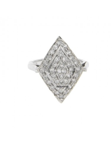 A DIAMOND RING WITH CUBIC ZIRCONIA IN RHODIUM AG TIT 925 SIZE 11