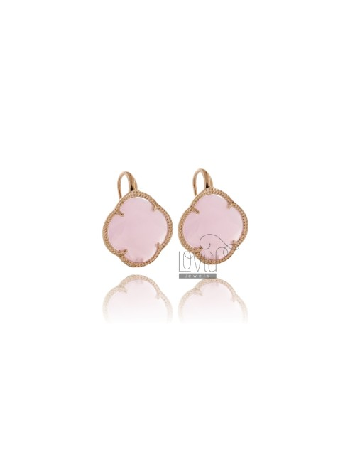 EARRINGS FLOWER IN PINK ROSE GOLD PLATED AG 925 TIT AND STONES HYDROTHERMAL