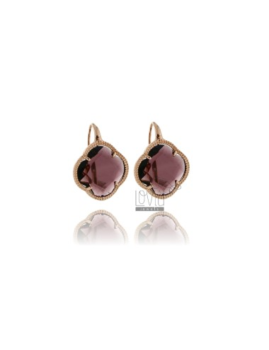 AG PLATED EARRINGS PURPLE FLOWER IN PINK GOLD AND STONE TIT 925 HYDROTHERMAL