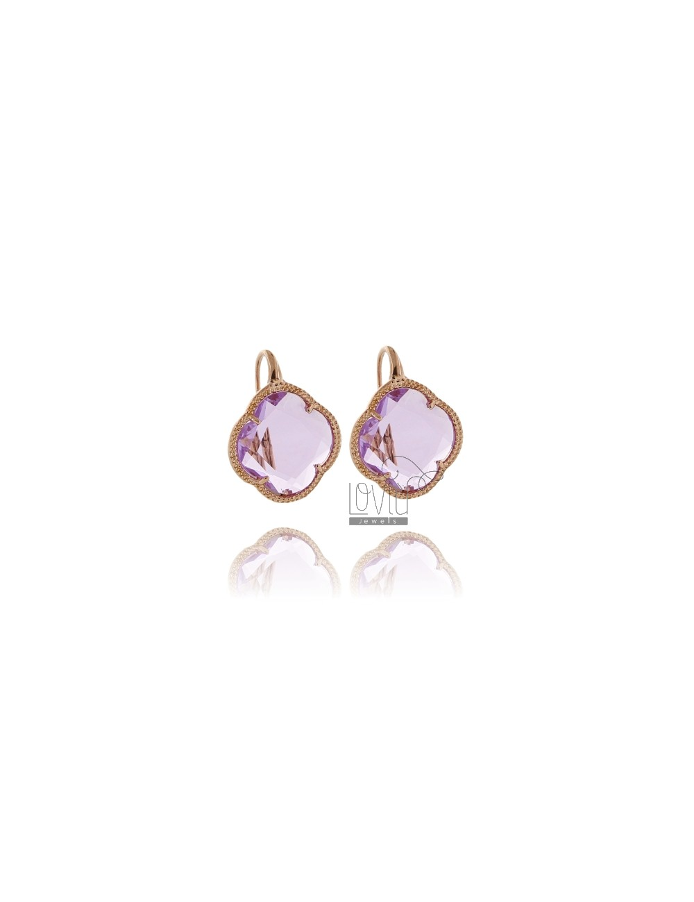 LOAD TRANSPARENT PINK FLOWER EARRINGS IN ROSE GOLD PLATED AG 925 TIT AND STONES HYDROTHERMAL
