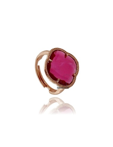 HYDROTHERMAL STONE RING WITH A RED FLOWER IN PINK ROSE GOLD PLATED AG TIT 925