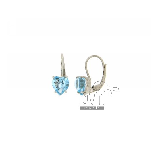 A nun EARRINGS WITH STONE HEART HYDROTHERMAL 10X0.8 COLOR AQUAMARINE IN RHODIUM AG TIT 925