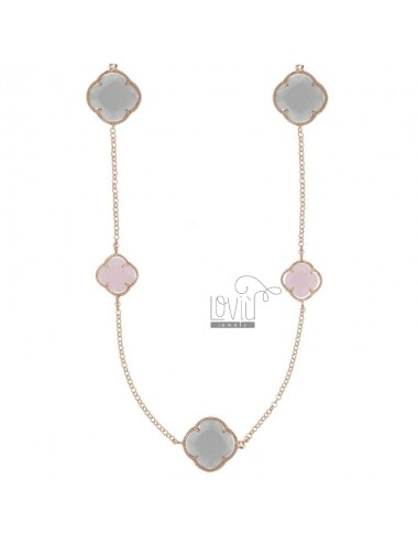925 ‰ ROSE GOLD PLATED SILVER CHANEL AND WHITE, PINK AND GRAY HYDROTHERMAL STONES 11-12-15 CM 90