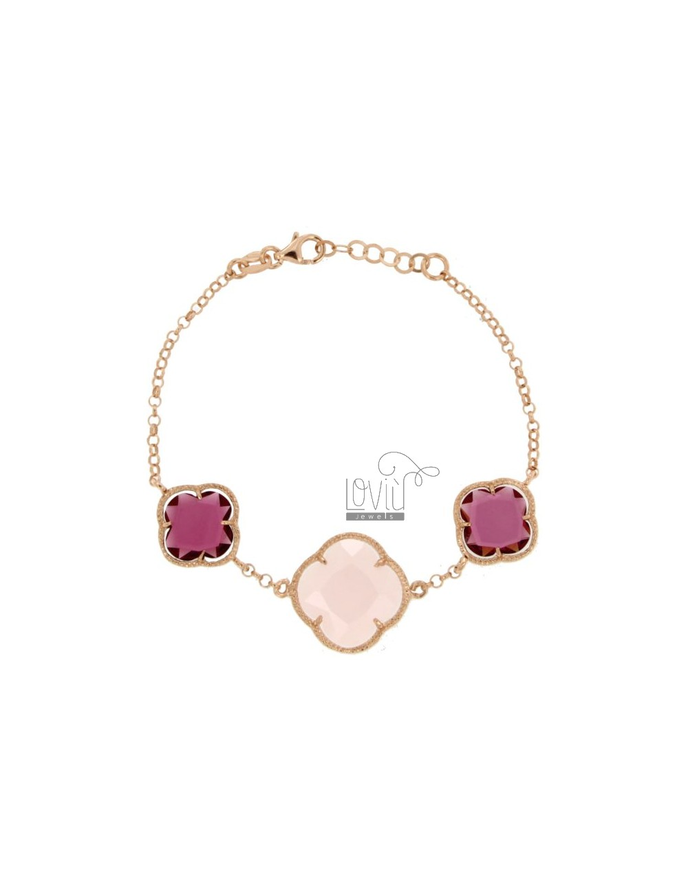 BRACELET WITH ROLO 'CHAIN AND FLOWERS IN PINK AND RED FUCHSIA HYDROTHERMAL STONES COLOR 16-11-16 PEARL IN ROSE GOLD PLATED AG TI