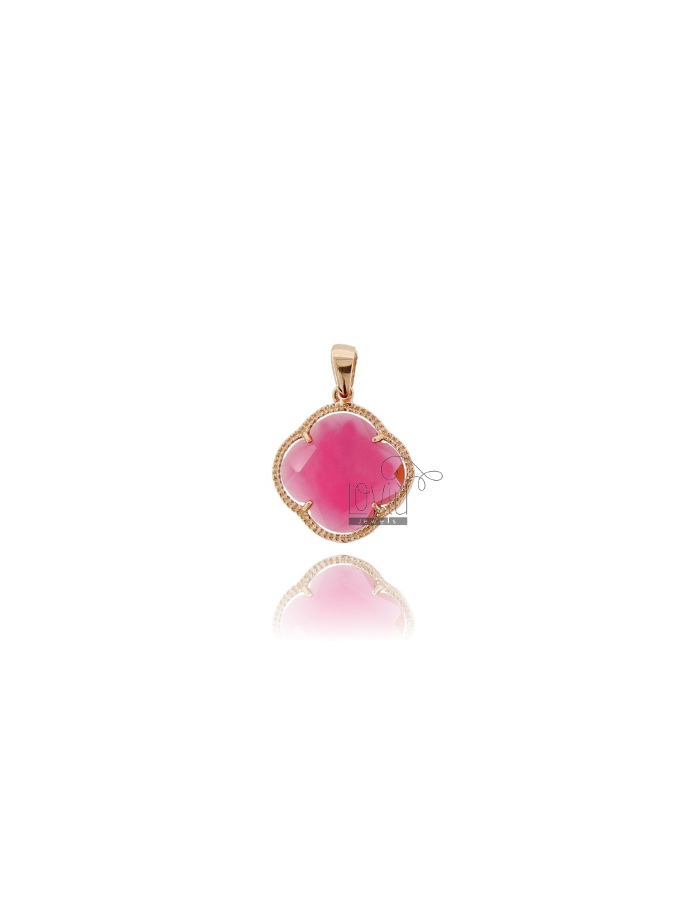FLOWER PENDANT STONE HYDROTHERMAL COLOR RED AND PINK 16 ROSE GOLD PLATED AG TIT 925