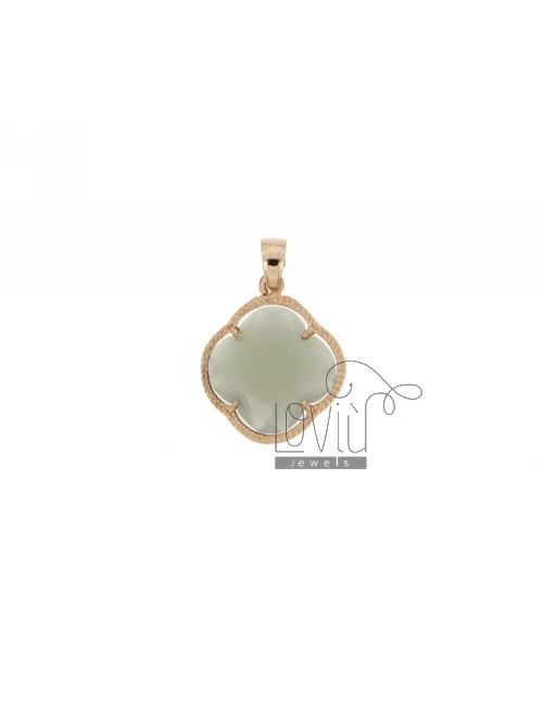 STONE PENDANT FLOWER IN GREY COLOR HYDROTHERMAL 51 AND ROSE GOLD PLATED AG TIT 925