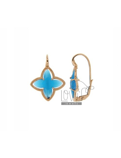 FLOWER EARRING Monachella 4 POINTS WITH TURQUOISE STONE COLOR HYDROTHERMAL 65 SILVER ROSE GOLD PLATED TIT 925