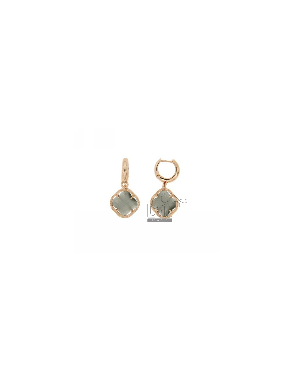 BEAD EARRINGS SILVER PLATED ROSE GOLD 925 ‰ TITLE AND FLOWER PENDANT SMALL STONE COLOR PEARL GREY 51 HYDROTHERMAL