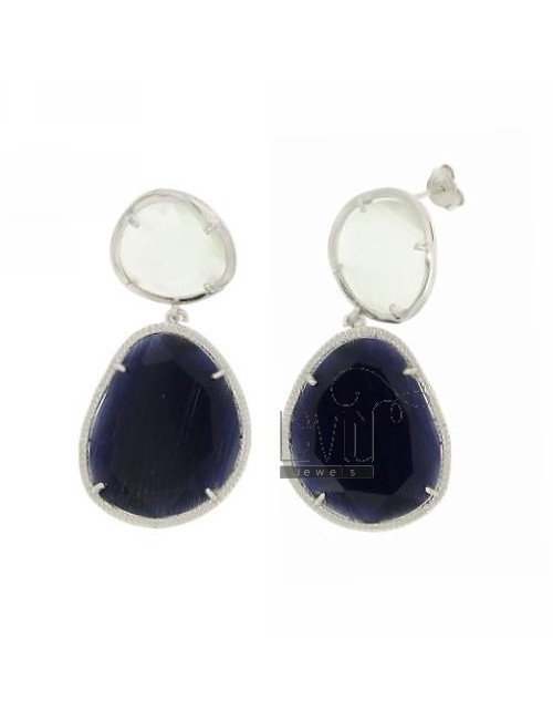 DOUBLE STONE EARRINGS SILVER RHODIUM 925 TITLE WITH STONES HYDROTHERMAL WHITE AND BLUE PEARL