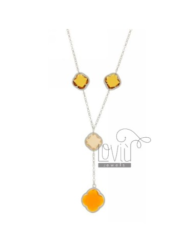 BEVERLY TYPE NECKLACE 40 CM WITH STONES HYDROTHERMAL A FLOWER WITH YELLOW TONES IN 3.31.61 AG RHODIUM TIT 925 ‰ CM 40