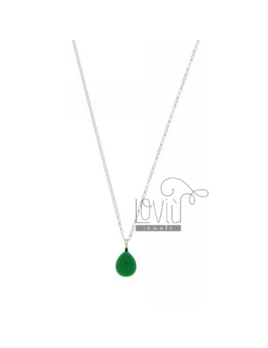 ROLO CHAIN &8203&8203&3945 CM WITH A DROP PENDANT 1.4 MM X1, 2 HYDROTHERMAL DARK GREEN STONE IN 40 AG RHODIUM TIT 925 ‰