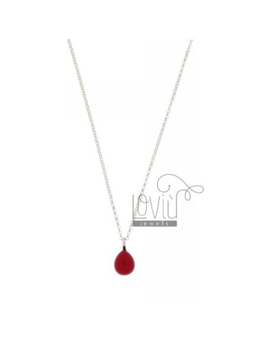 ROLO CHAIN &8203&8203&3945 CM WITH A DROP PENDANT 1.4 MM X1, 2 STONE HYDROTHERMAL RED STRAWBERRY IN RHODIUM AG TIT 925 ‰