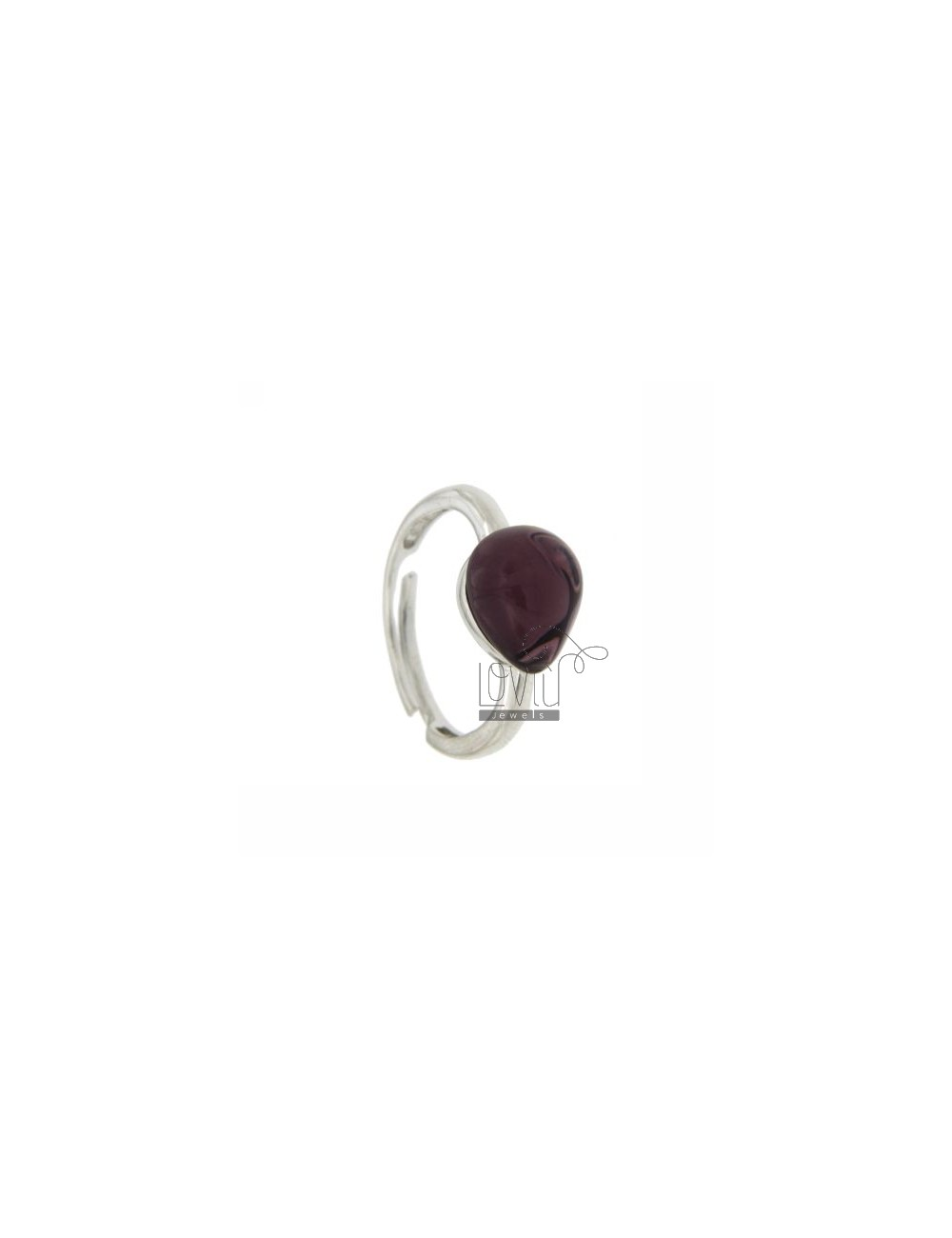 HYDROTHERMAL STONE RING WITH A DROP IN 13 MM 1 PURPLE AG TIT 925 RHODIUM SIZE ADJUSTABLE