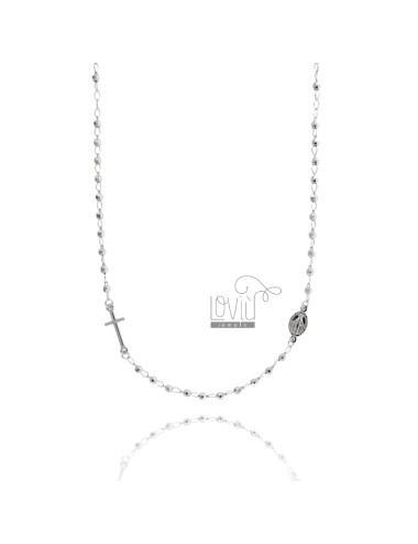 ROSARY NECKLACE WITH A TOTAL ROUND BALL 50 CM 3 MM faceted SILVER RHODIUM 925 ‰