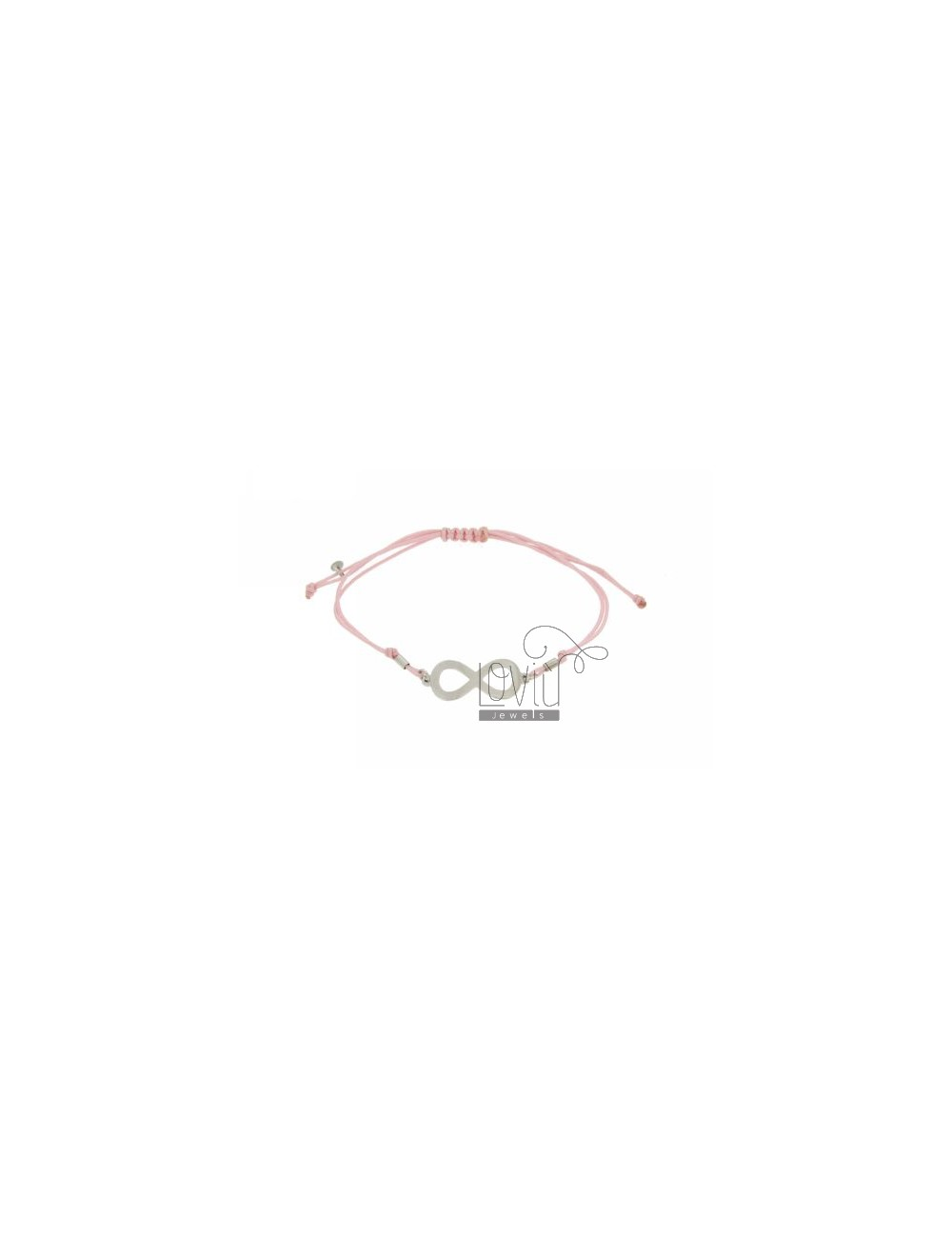 CORD BRACELET PINK WITH CENTRAL INFINITE 30x12 MM SMOOTH SILVER RHODIUM 925