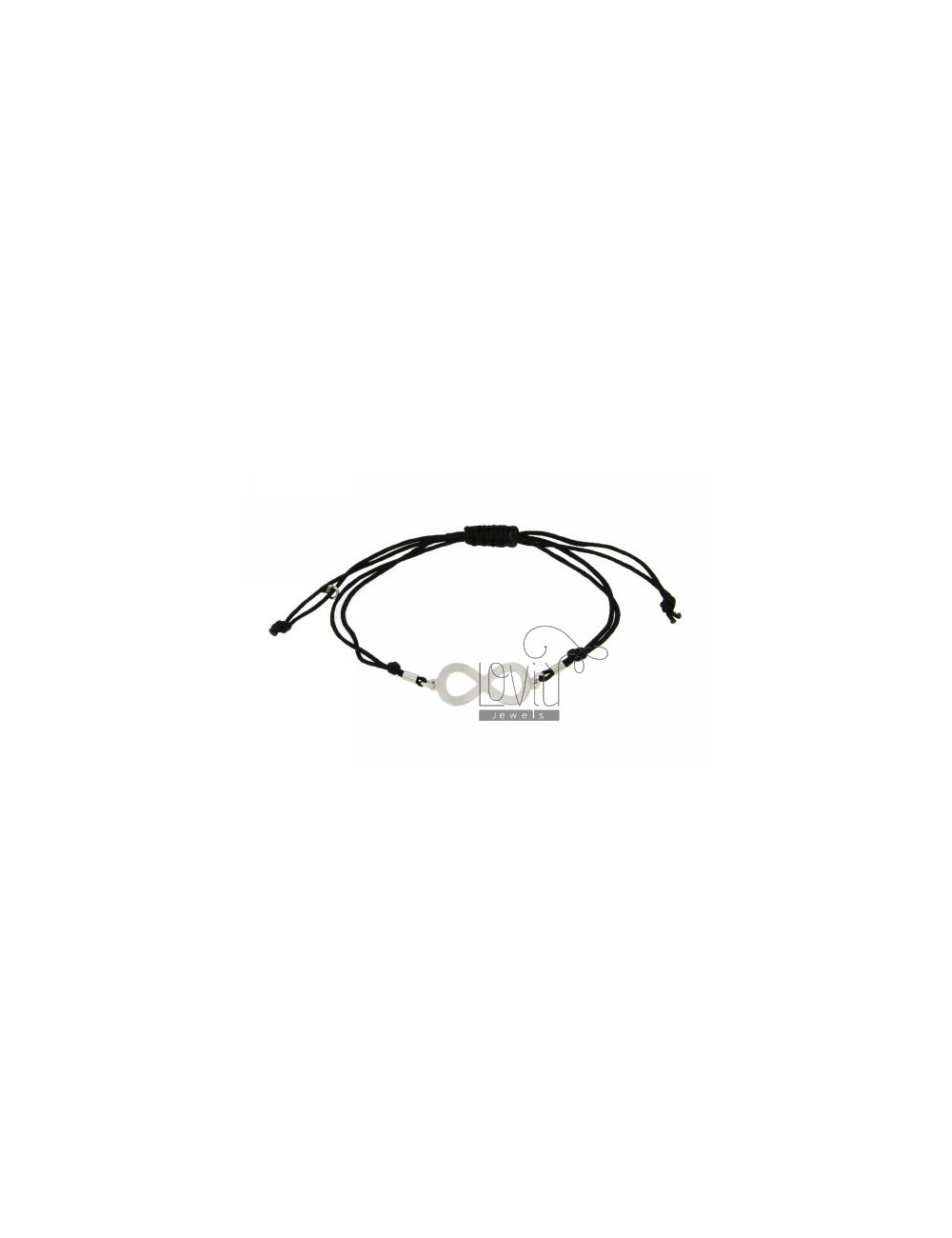 CORD BRACELET WITH BLACK SMOOTH CENTRAL INFINITE 30x12 MM SILVER RHODIUM 925