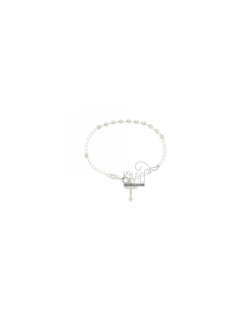 ROSARY BRACELET WITH BALL faceted MM 4 CM 19 CROSS IN SILVER INVESTMENT CAST 20x12 MM TIT 925 ‰