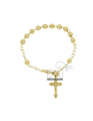 ROSARY BEAD BRACELET WITH 6 MM 19 CM WITH CROSS INVESTMENT CAST 26x15 MM SILVER GOLD PLATED YELLOW TIT 925 ‰