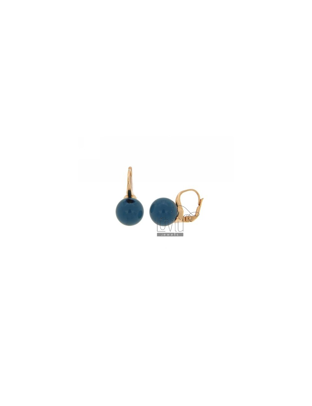 Monachella EARRINGS WITH BALL 12 MM TRANSPARENT BLUE STONE HYDROTHERMAL 1 SILVER ROSE GOLD PLATED 925 TITLE