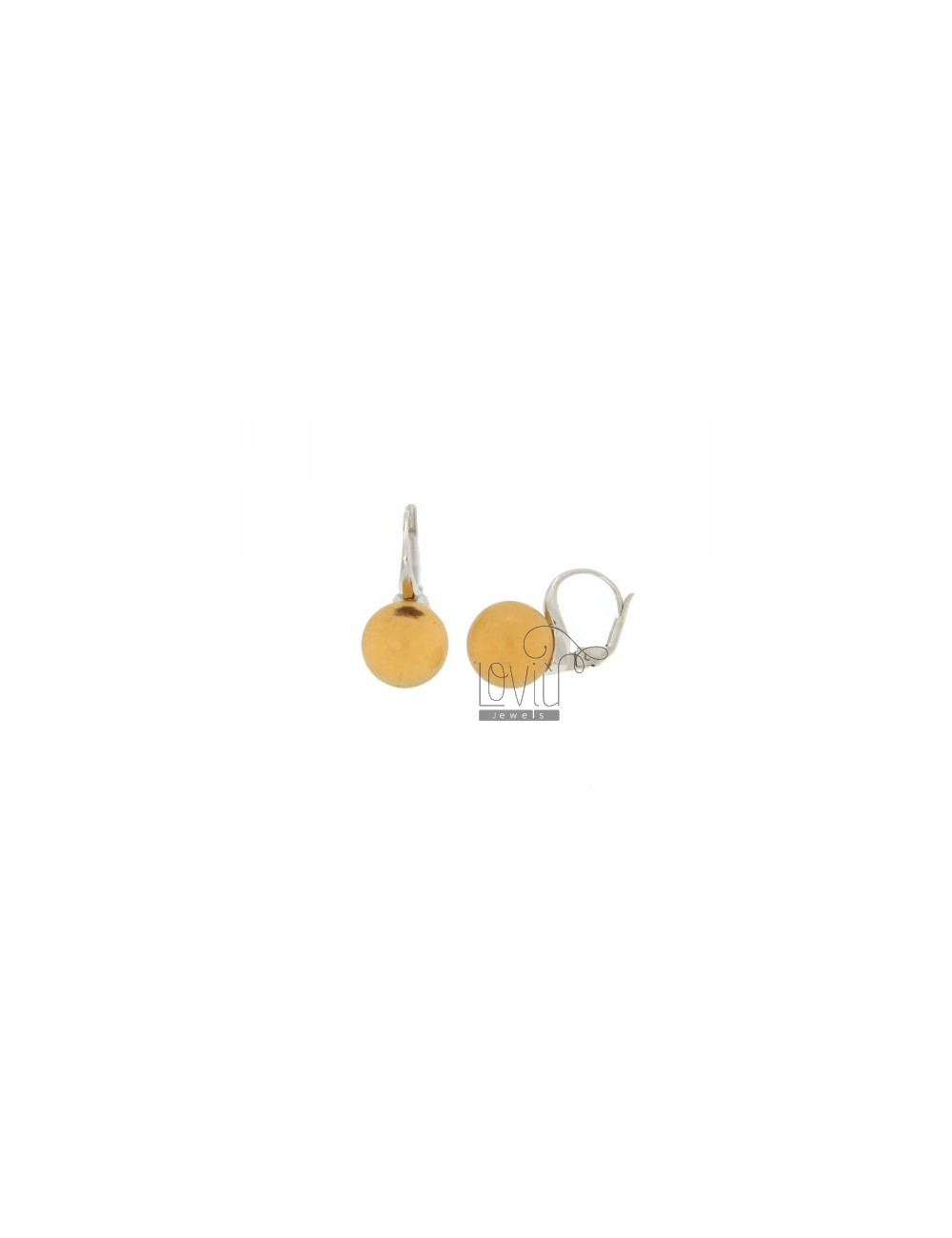 Monachella EARRINGS WITH STONE BALL 12 MM YELLOW OCRE HYDROTHERMAL CLEAR TITLE 3 SILVER RHODIUM 925