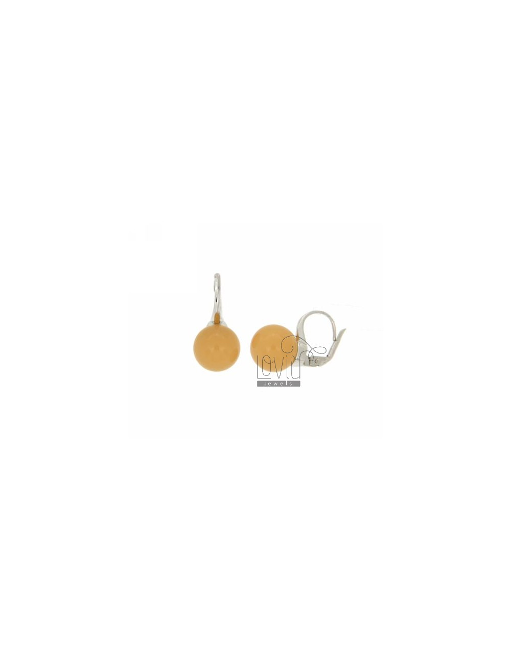 Monachella BALL EARRINGS WITH STONE HYDROTHERMAL 12 MM YELLOW OCRE 31 RHODIUM SILVER TITLE 925