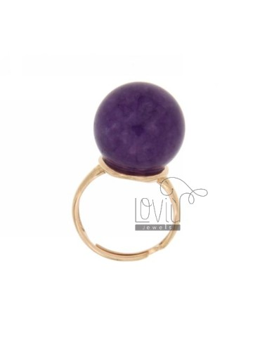 STONE RING WITH BALL 16 MM HYDROTHERMAL VIOLA13 COLOR WITH BASE IN SILVER ROSE GOLD PLATED ADJUSTABLE SIZE 925 TITLE