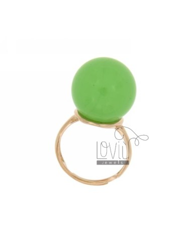 BALL RING WITH STONE HYDROTHERMAL MM 16 4 COLOR GREEN BASE WITH ROSE GOLD PLATED SILVER TITLE 925 SIZE ADJUSTABLE