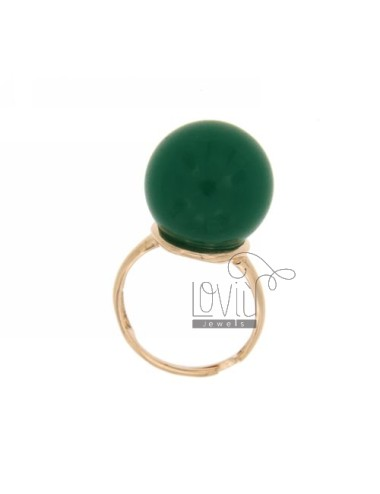 BALL RING WITH STONE HYDROTHERMAL MM 16 40 COLOR GREEN BASE WITH ROSE GOLD PLATED SILVER TITLE 925 SIZE ADJUSTABLE