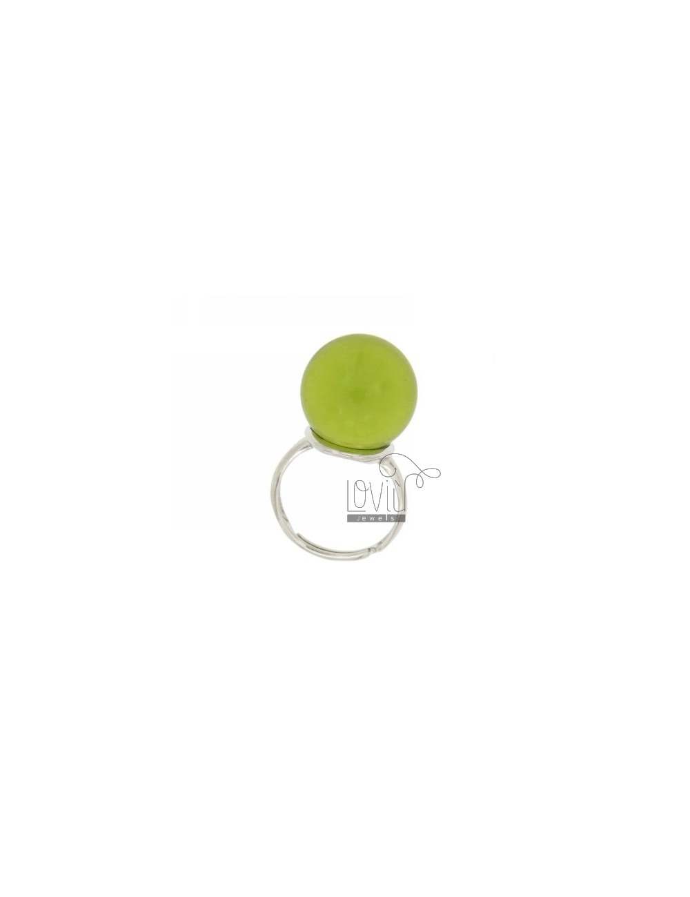 BALL RING WITH STONE HYDROTHERMAL 16 MM COLOR PEA GREEN WITH TRANSPARENT BASE 23 SILVER RHODIUM 925 TITLE SIZE ADJUSTABLE