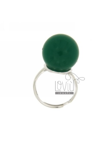 BALL RING WITH STONE HYDROTHERMAL MM 16 40 COLOR GREEN WITH BASE IN SILVER RHODIUM 925 TITLE SIZE ADJUSTABLE