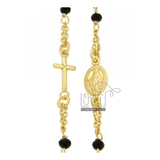 ROSARY NECKLACE WITH A ROUND BLACK STONES faceted MM 3,5 X 2,8 CM 50 IN SILVER GOLD PLATED 925 ‰