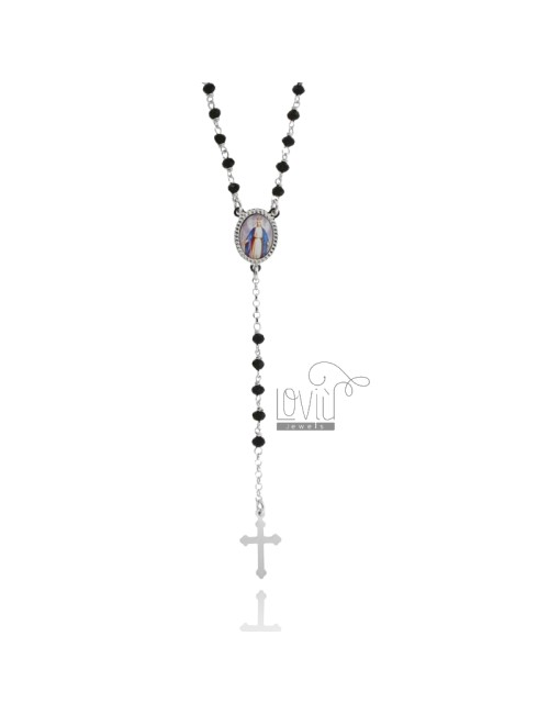 ROSARY NECKLACE WITH BLACK STONES faceted 3.5 X 2.8 MM 50 CM WITH MIRACULOUS LADY IN SILVER RHODIUM 925 ‰