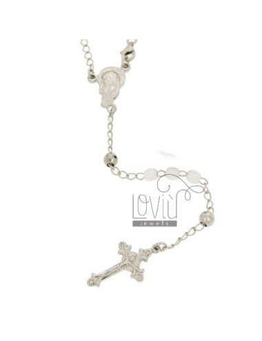 ROSARY NECKLACE WITH WHITE STONES faceted 4.5 X 4.5 MM 54 CM SILVER RHODIUM 925 ‰