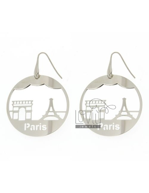 EARRINGS ROUND LASER CUTTING 45 MM IN PARIS AG TIT RHODIUM PLATED 925