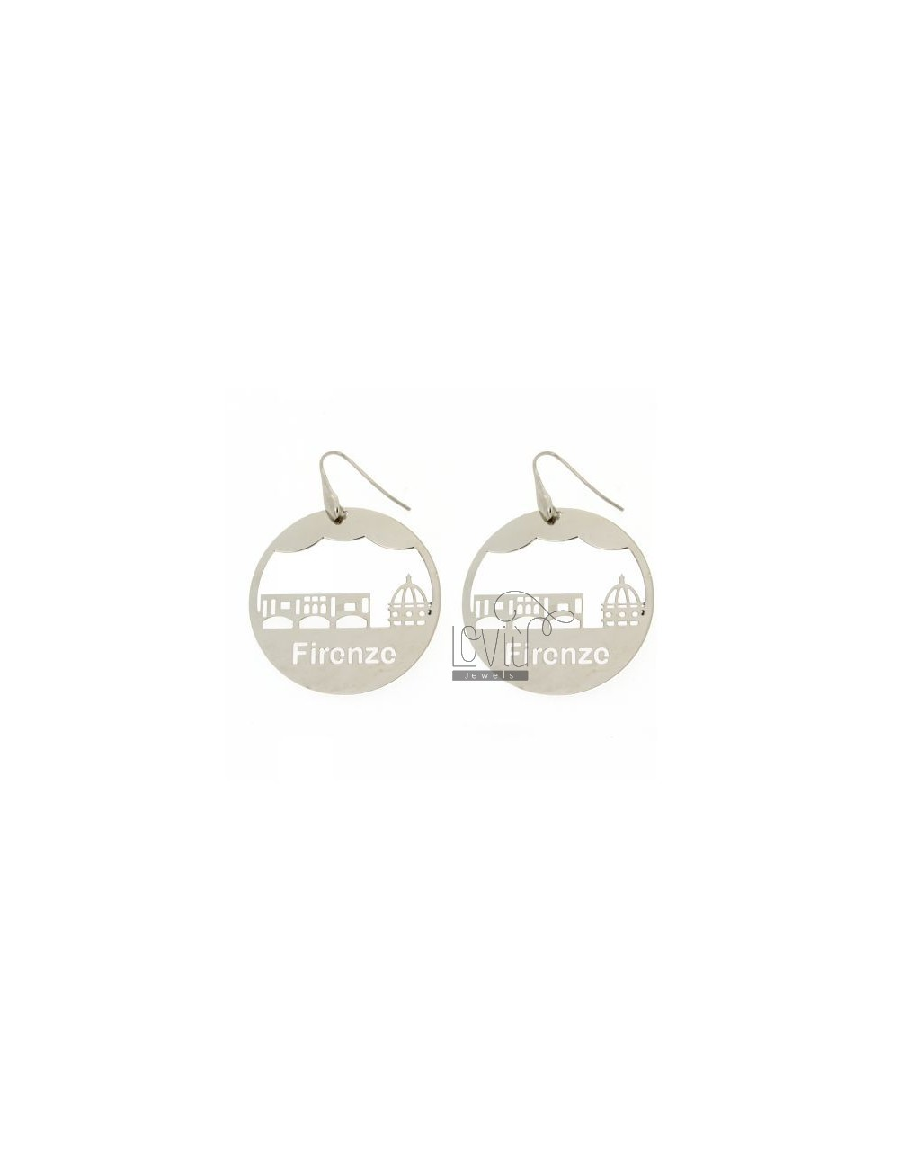 EARRINGS ROUND LASER CUTTING 45 MM IN FLORENCE AG TIT RHODIUM PLATED 925
