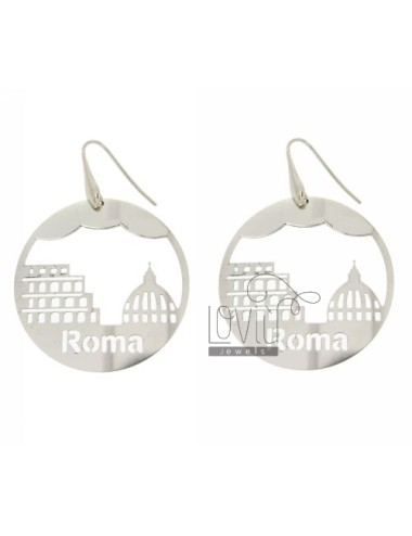EARRINGS ROUND LASER CUTTING 45 MM IN ROME AG TIT RHODIUM PLATED 925