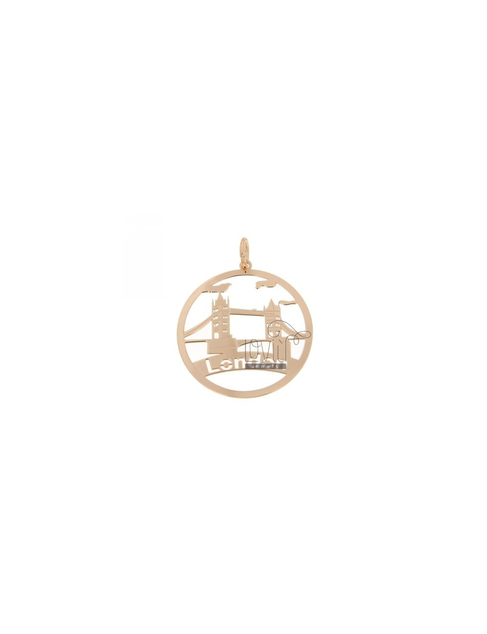 CHARM ROUND LASER CUTTING 40 MM IN LONDON AG ROSE GOLD PLATED TIT 925 ‰