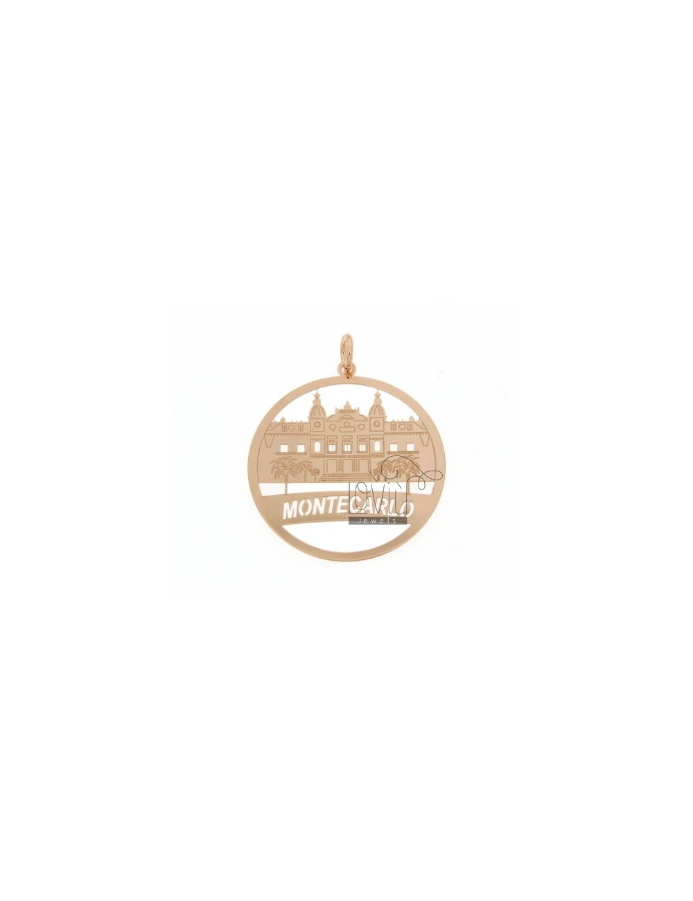 CHARM ROUND LASER CUTTING 40 MM IN MONACO ROSE GOLD PLATED AG TIT 925 ‰